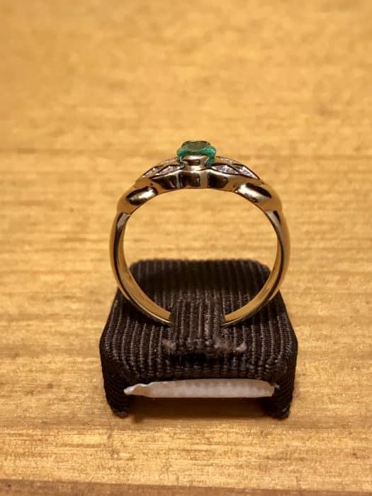 Bague d'occasion or jaune émeraude et diamants